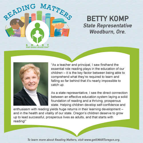 Rep Betty Komp Reading Matters testimonial for SMART website