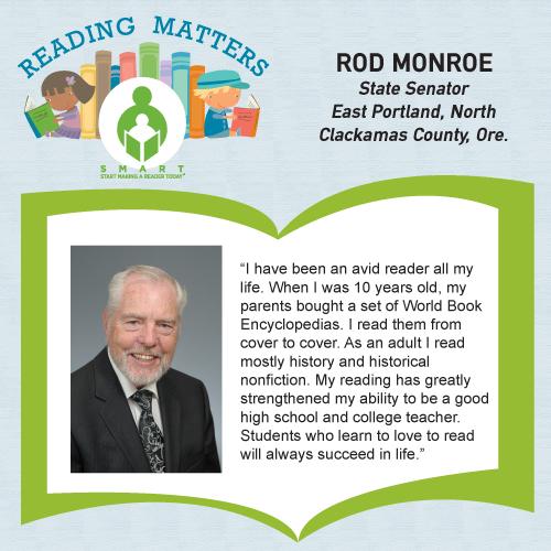 Sen Rod Monroe Reading Matters Testimonial for SMART website