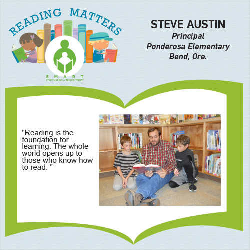 Ponderosa Elementary Principal Steve Austin reading with two students as part of SMART Reading Matters campaign.
